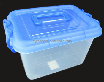 12L Attached Lid Large Plastic Storage Container With Lid