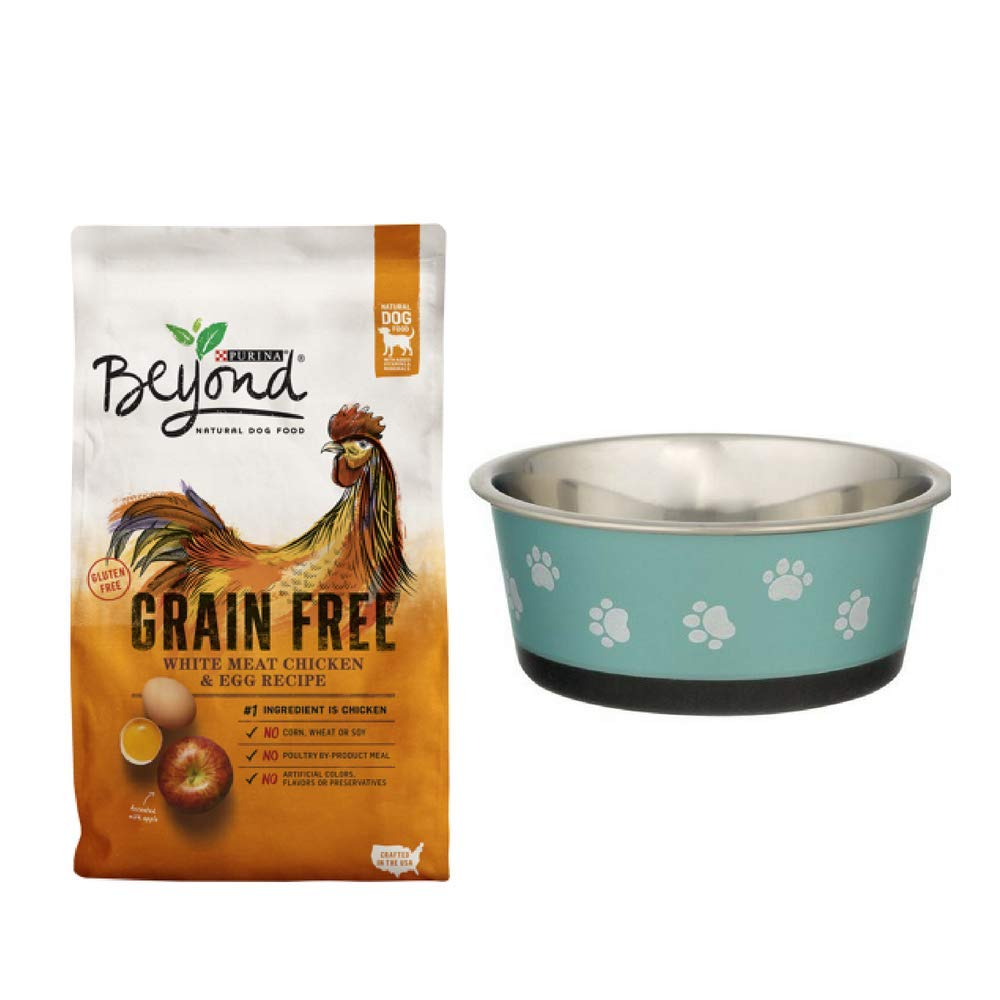 Purina Beyond Grain Free White Meat Chicken & Egg Recipe Adult Dry Dog Food - 23 lb. Bag - with Stainless Steel Bowl Small