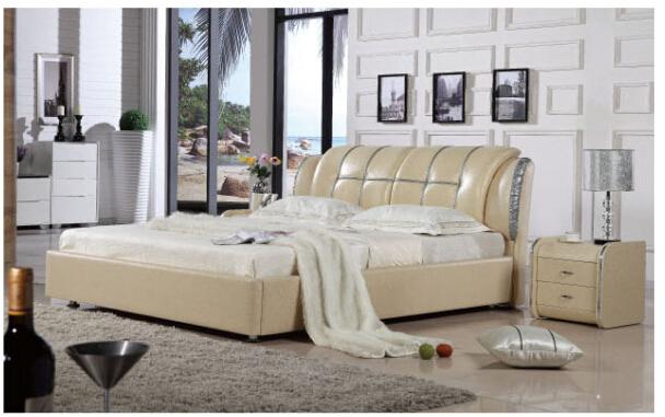 Black modern bedroom leather bed 8061 lizz bed oak - Black and wood bedroom furniture ...