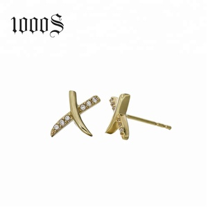 Excellent Earrings 14K Yellow Gold Fashion Stud Earrings Pave CZ Letter X For Women Jewelry