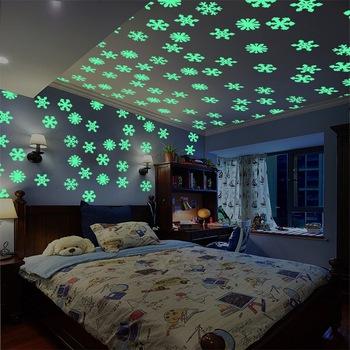 50pcs/bag 3d removable night glow christmas snowflake fluorescent