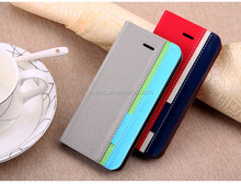 Contrast color Fashion PU Leather Wallet Flip Mobile Phone Case Cover For Blackberry 8900
