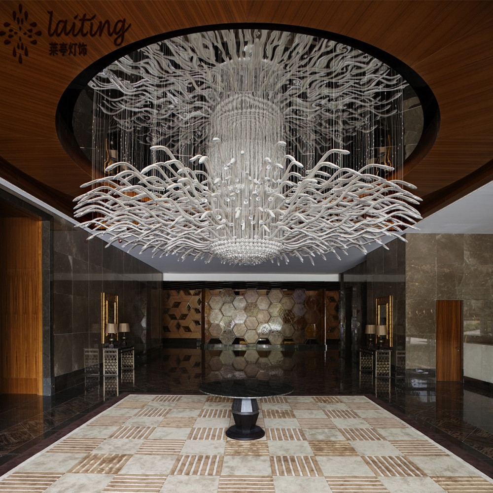 Modern hotel lobby custom made chandelier light for low ceiling view modern hotel lobby - Ceiling lights and chandeliers ...