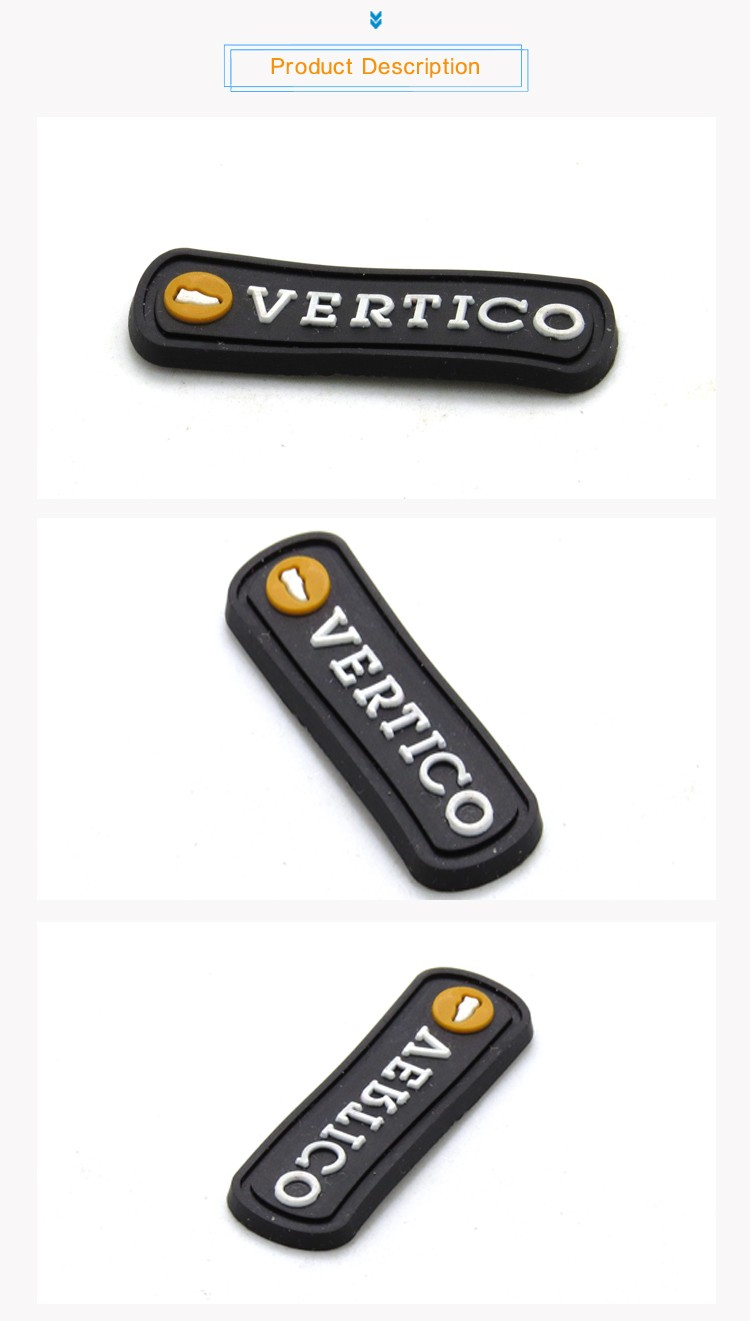 Factory custom embossed rubber label black brand name 3d silicone logo rubber patch clothing tags