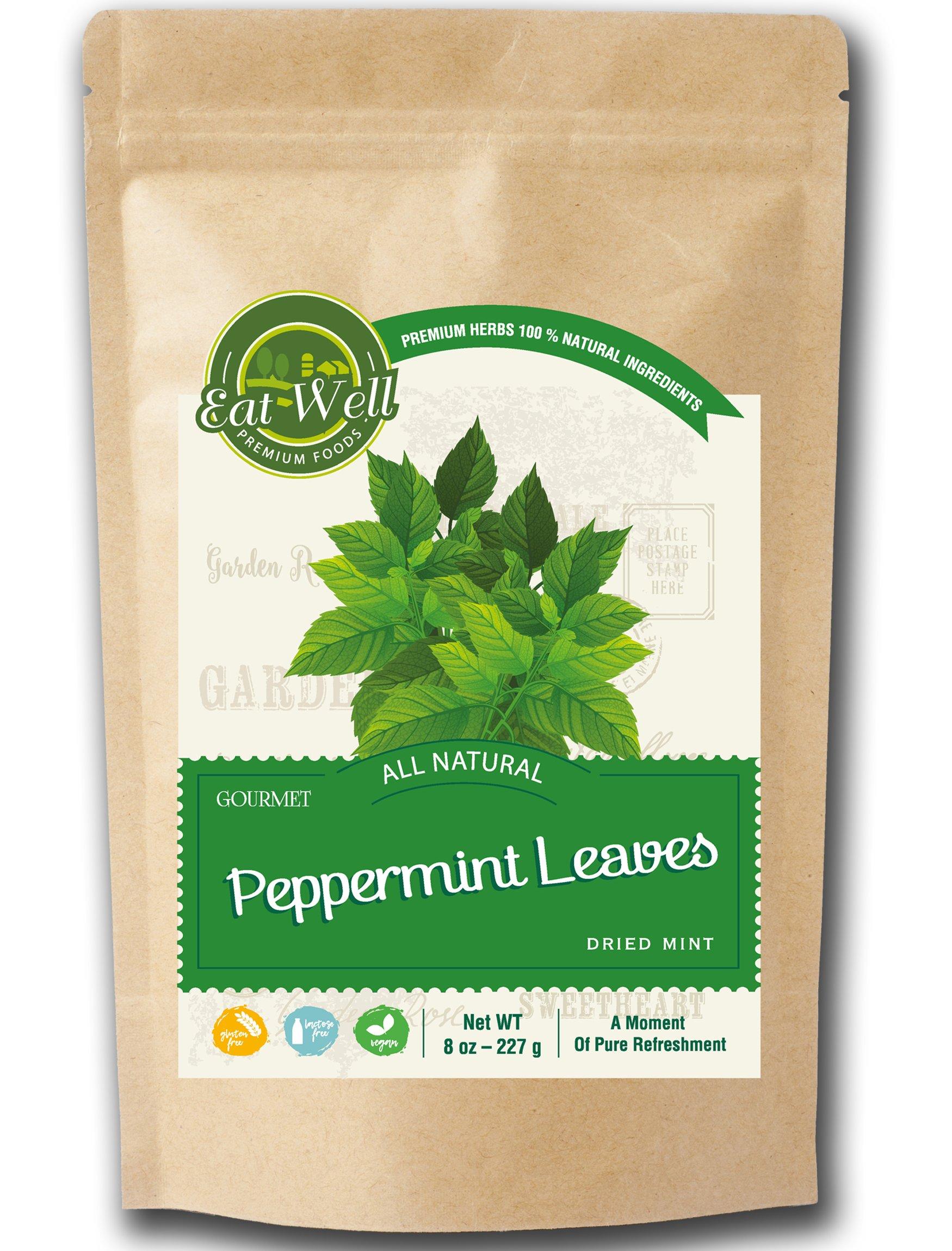 Crushed Mint Leaves | 8 oz Reseable Bag, Bulk | Cut & Sifted, Organic Culinary Dried Mint Leaf | Crushed Peppermint Tea | Menta Piperita | by Eat Well Premium Foods Eat Well Premium Foods