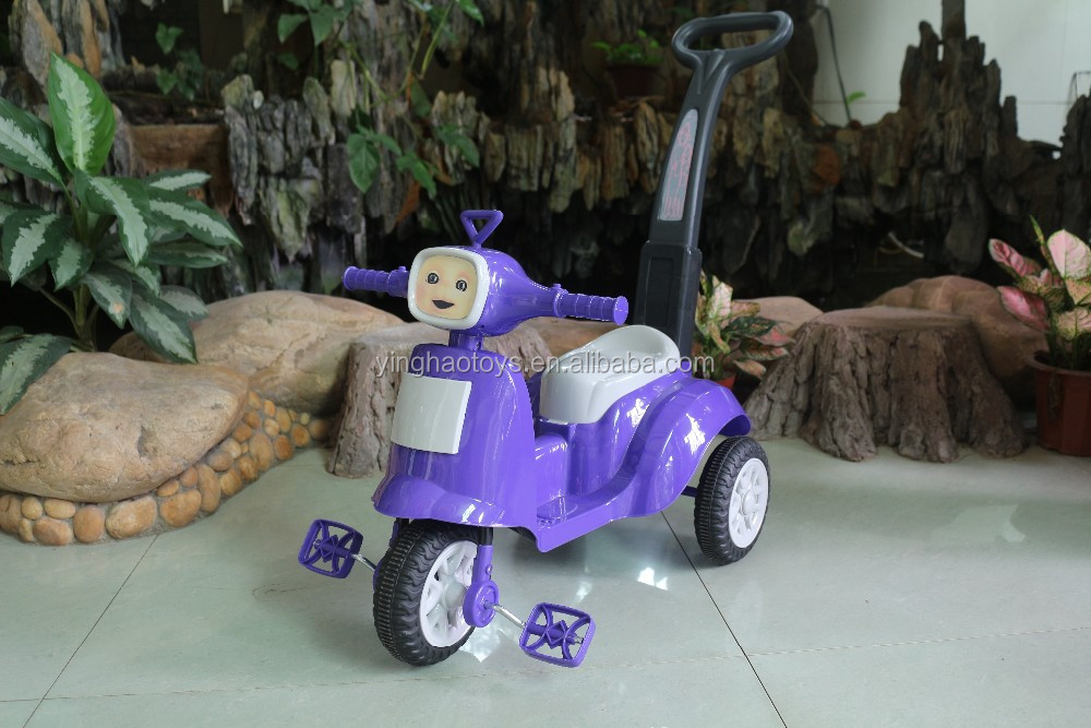 Purple Push & Pedal Ride On Tricycle