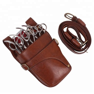 Barber Waist Leather Pouch Hair Cutting Scissors case Holster