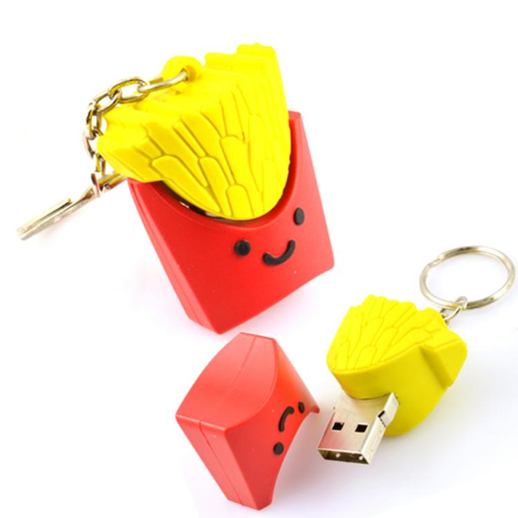 Fashion factory direct sales custom cute usb flash drive with keychain