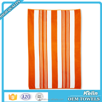 Wholesale alibaba 100% cotton orange and white stripes beach towels wholesale bulk