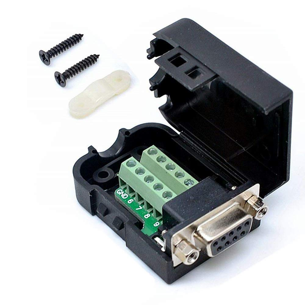 Connector DB9 RS232 D-SUB Female Adapter Serial 9 Pin Port DB9 COB Breakout Terminal Connector Signal Module with Case (Female with Screw) (Female Connector + Nut)