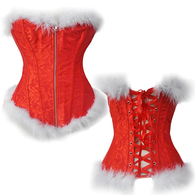 608858cc260 TaFiY Sexy Christmas Corset Costume Women Miss Santa Bustier Top ...