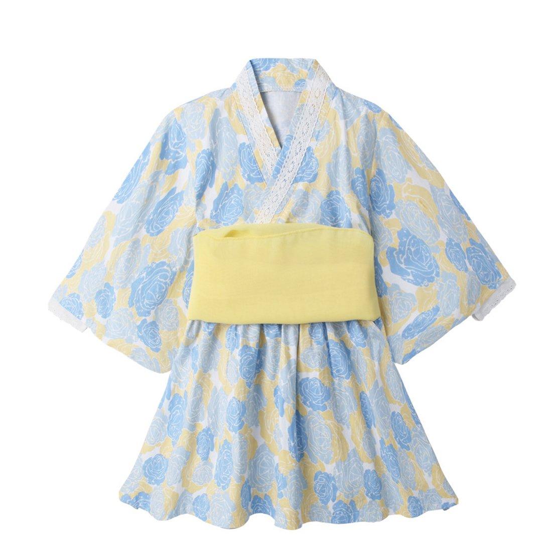 dffe4cf32d7b5 Baby Girl Kimono Robe Dress Organic Cotton Japan Yukata with Belt for 1-7  years