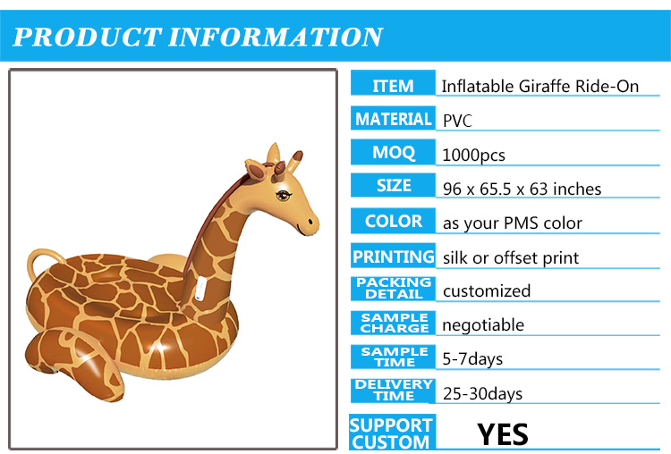 Giant Inflatable Giraffe Ride On Pool Float. Constructed From Durable,  12 Gauge PVC Vinyl. Recessed Lounging Area Perfect For 2 Riders 2 Grab  Handles