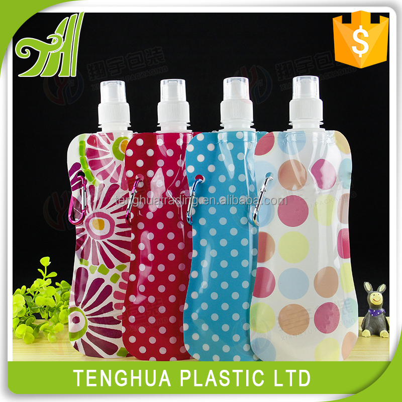 Plastic pvc water bottle,soft collapsible water bag
