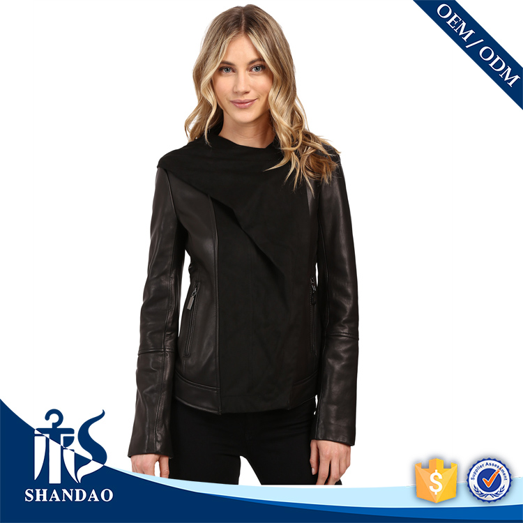 Guangzhou Shandao OEM Handsome Hooded Women Slim Fit Zip Cuffs Advanced Experience Motorcycle Jacket