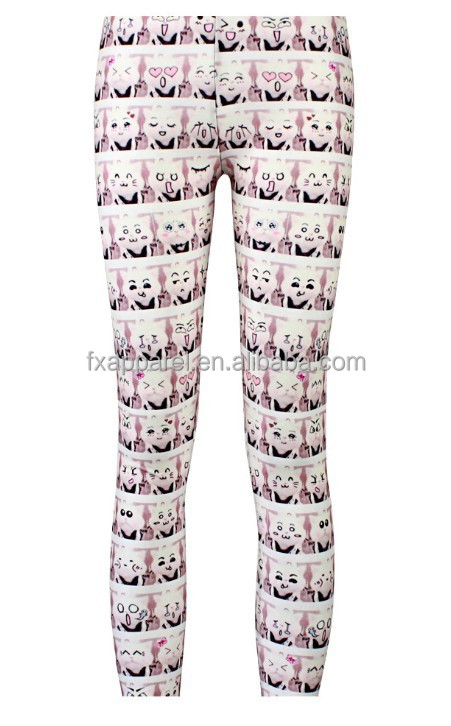 Top selling kitty expression package design legging pants S-4XL plus size ladies legging