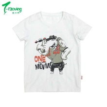 Hot products kids custom printed children clothing round neck short sleeves summer boys white t shirt