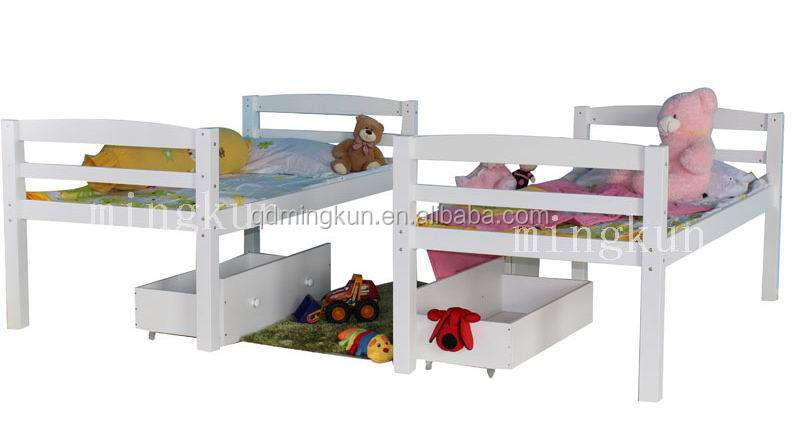 Children Pine Wood Twin Bed Kid Stackable Wooden Bed Wooden