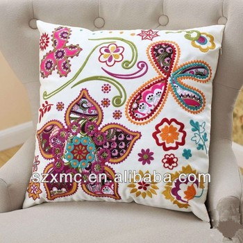 Colour Embroidered Flower Pattern Design Cushion Covers For Leather
