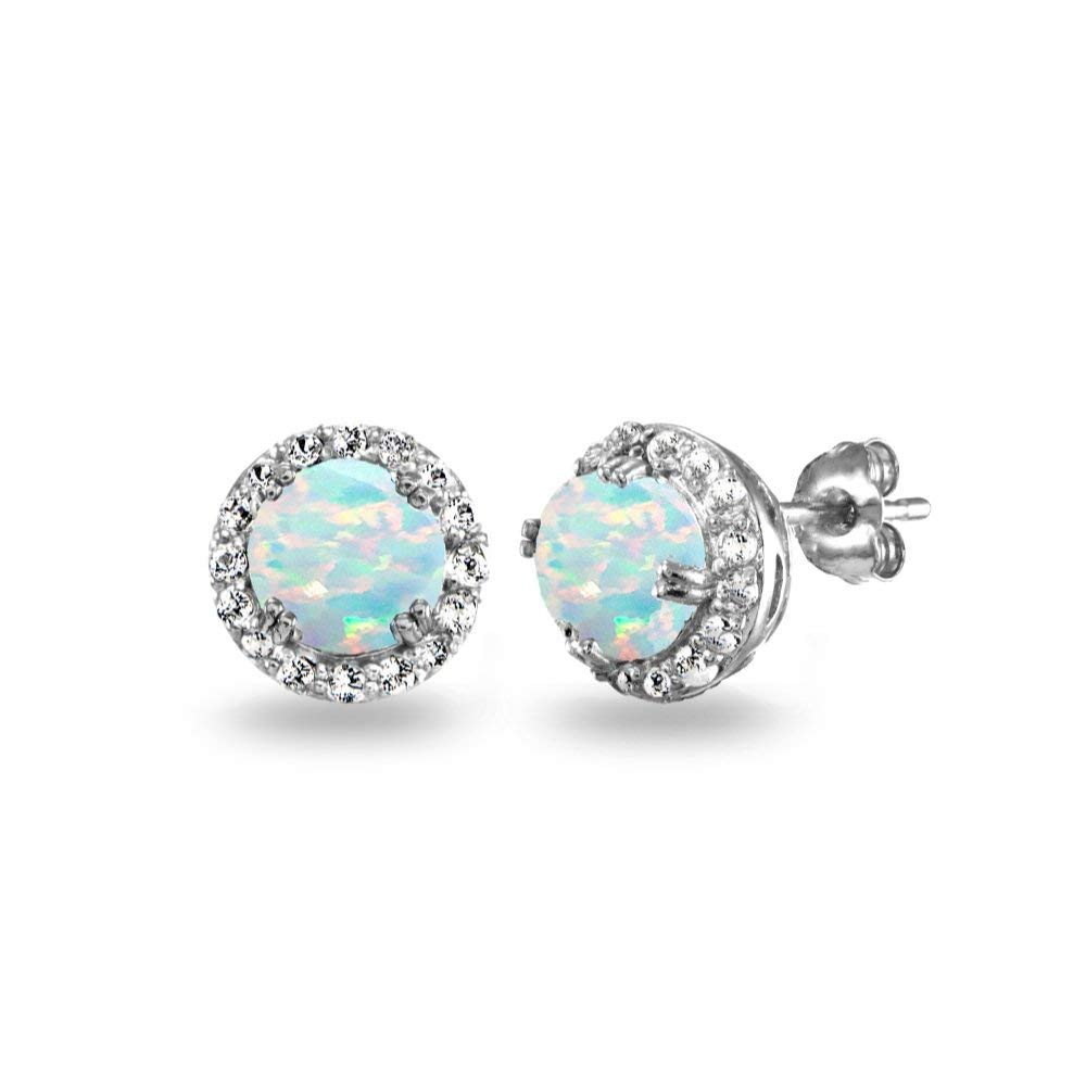 Sterling Silver Created Opal & White Topaz Round Halo Stud Earrings