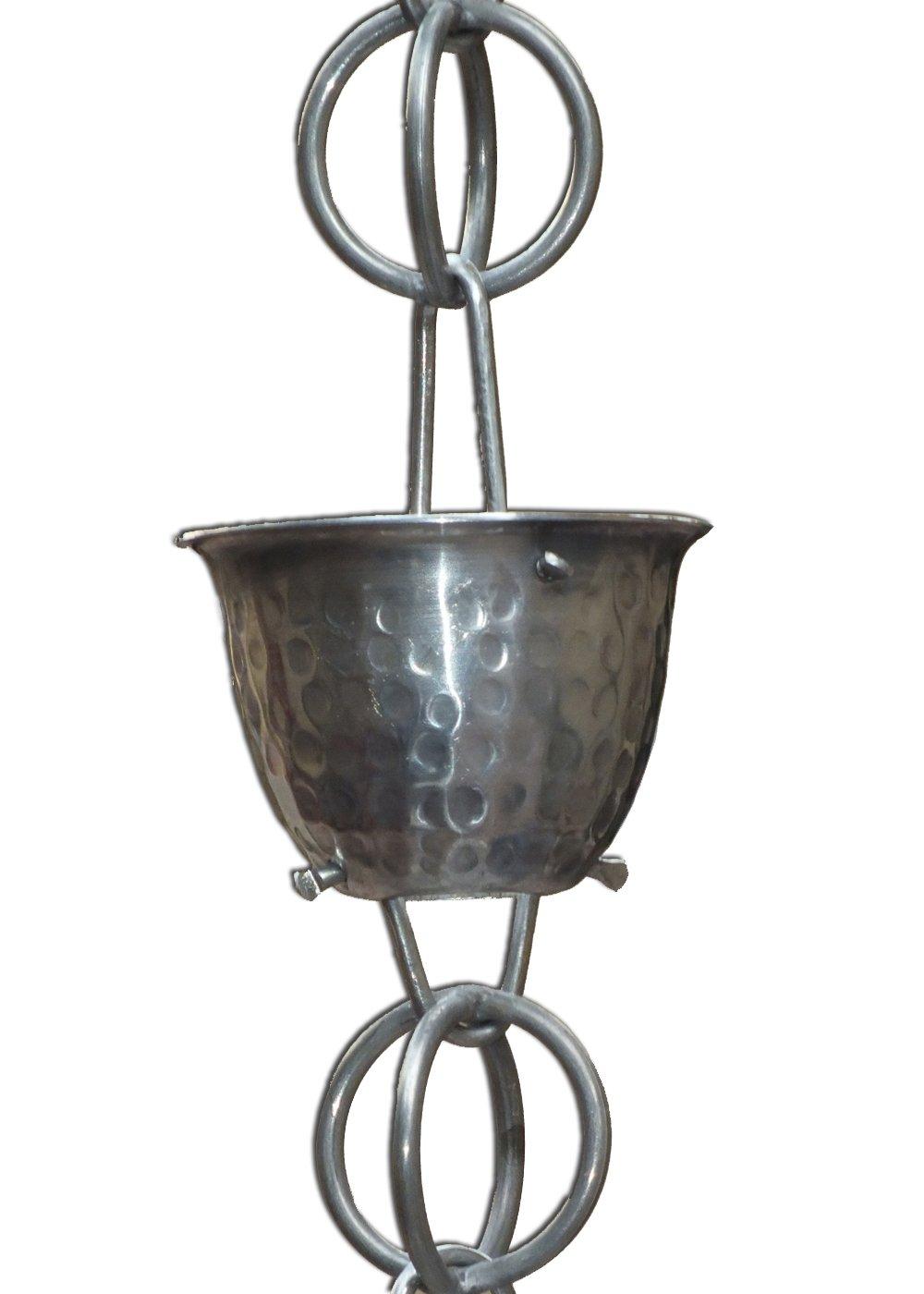 8-1/2-Feet Length Monarch Aluminum Teardrop Rain Chain with Aluminum Gutter Reducer Outdoor Décor Patio, Lawn & Garden