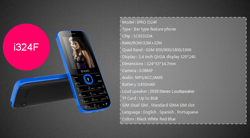 Well Priced Ipro i324F 2G feature mobile phone 2.4 inch GSM Cellular With Professional Technical Support