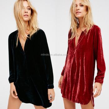 Women Winter Fashion Sexty Short Velvet Shirt Dress With Long Sleeve