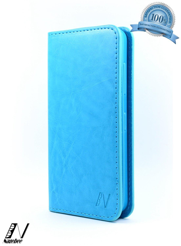 NageBee(TM) - Nokia Lumia 635 - Premium Leather Wallet Flip Case (Leather Flip Blue)