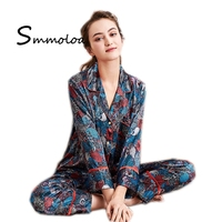 Smmoloa Women Silk Night Sleepwear Long-sleeve Pants Pijamas suits
