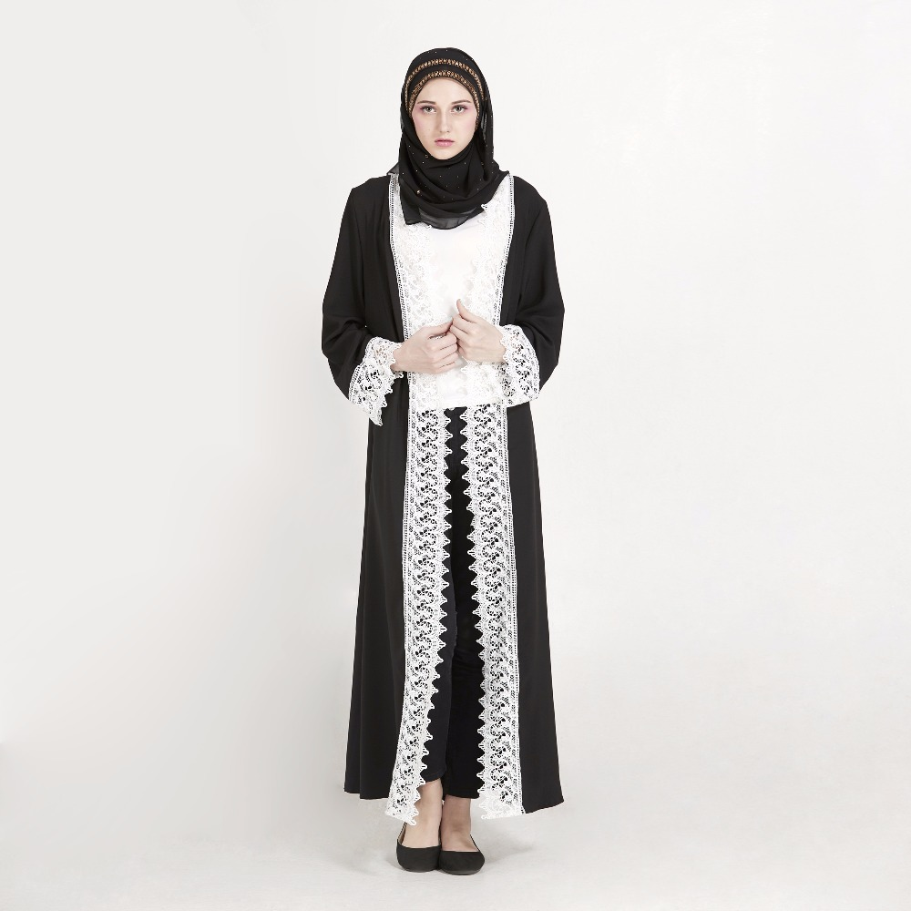 Newest Muslim Long Sleeve Lace Embroidery Hollow Woman Abaya Black Wholesale