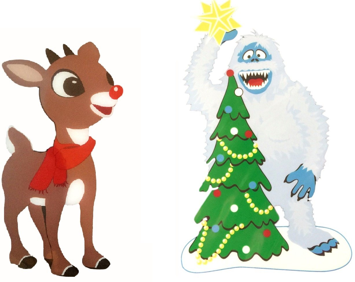 window cling rudolph and abominable snowman placing star on christmas tree 2pk - Abominable Snowman Rudolph Christmas Decoration