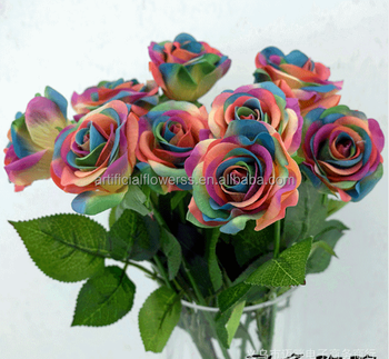Cheap Artificial Fake Plastic Flower Single Rose Bulk Artificial