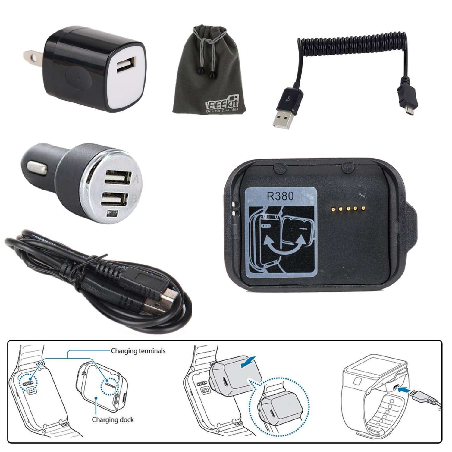 EEEKit 2in1 Charging Solution Kit for Samsung Gear 2 SM R380, Charging Cradle Charger Dock , AC Wall Charger, USB Car Charger, Charging Cable