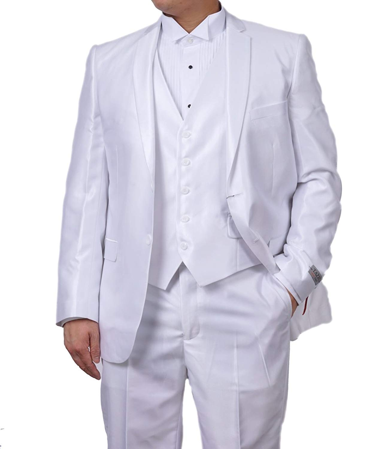 TAZIO New Mens 3 Pc (Jacket, Pants & Vest) Shiny White Sharkskin Slim Fit Dress Suit (40R)