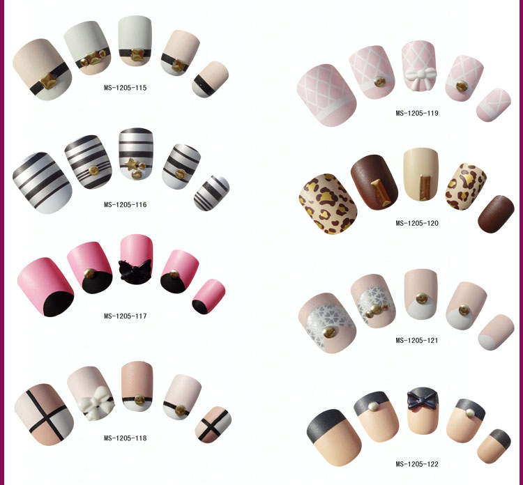 2015 Hot Sale Fake Nail Nude Matte Nails With Rhinestones Nail ...
