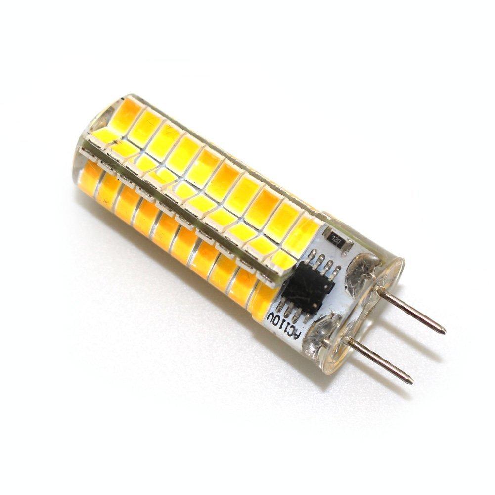 Reelco 4-Pack Mini G8 T4 Base Bi-pin LED 6Watt Dimmable LED Light Bulb corn light 80pcs 5730SMD AC 110V-120V Warm white 2700K-3000K Equivalent 30W-40W Halogen Bulb