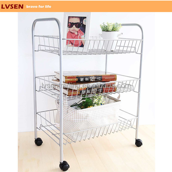 Bathroom Kitchen Garden Wire Metal Mobile 3 Tier Storage Cart