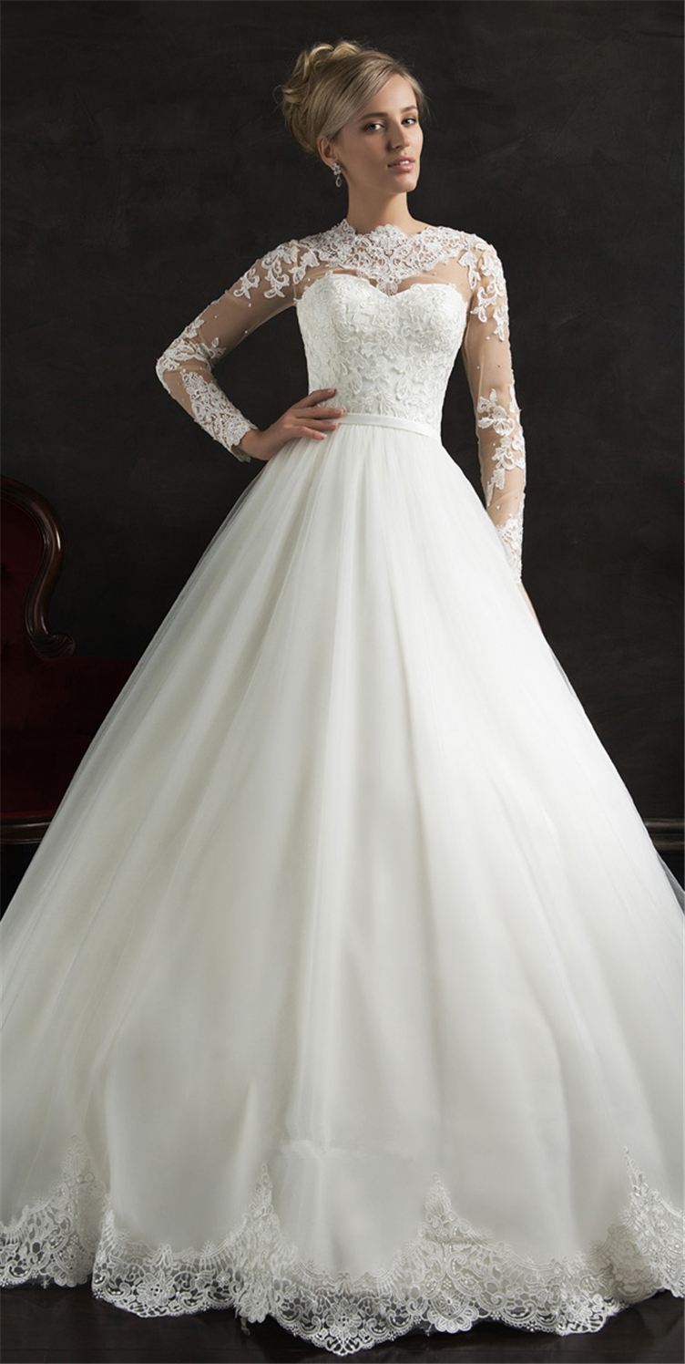Elegant Long Sleeve Princess Wedding Dresses White Lace ...
