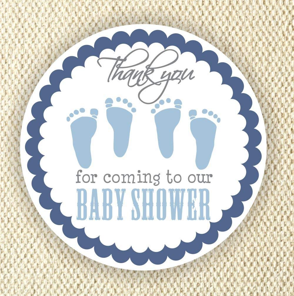 Twin Baby Boy Shower Stickers - Twin Boys Stickers - Favor Stickers - Baby Shower Favor Stickers - Baby Footprint Stickers - Set of 40 stickers