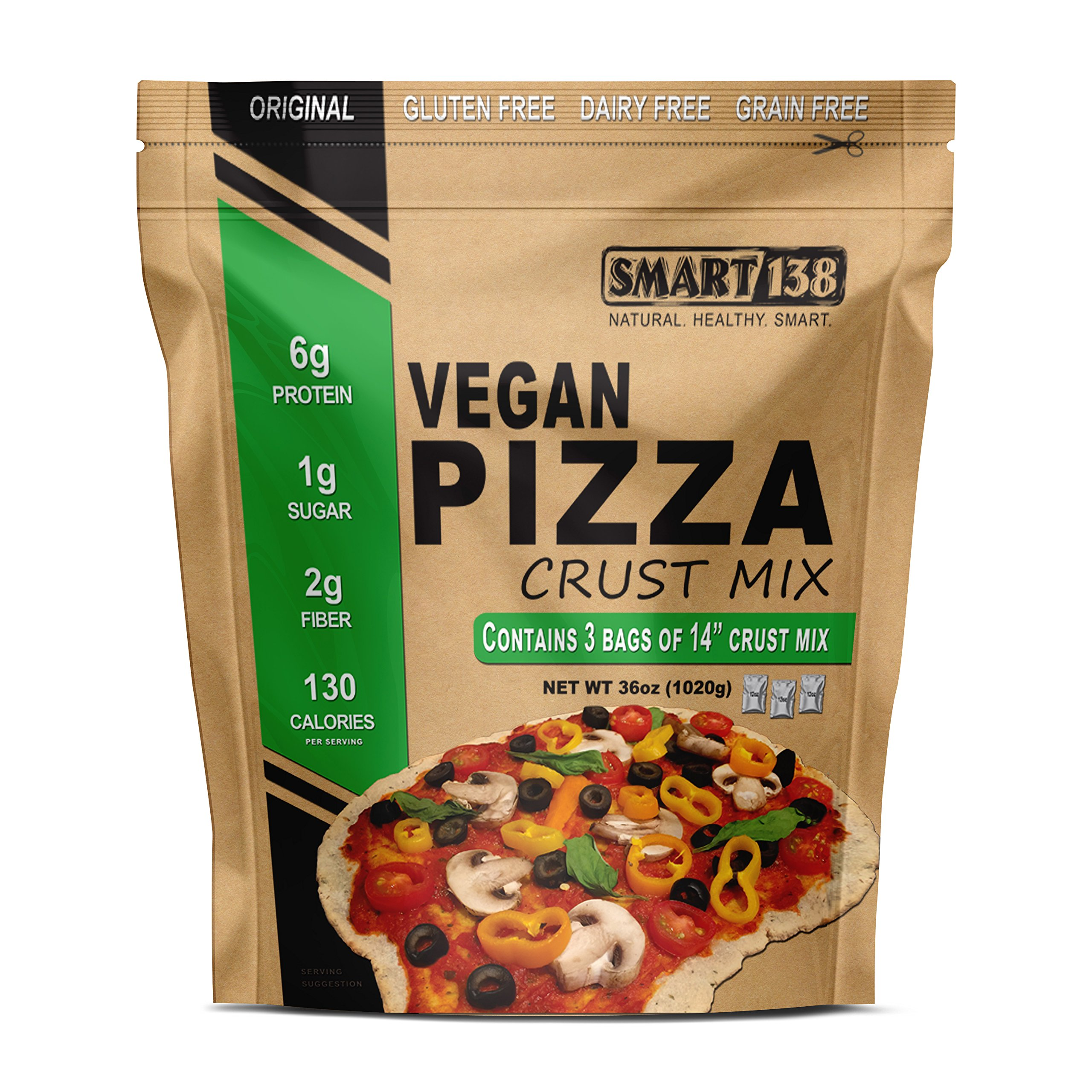 Vegan Pizza Crust Mix // Just Add Water // Grain-Free, Gluten-Free, Dairy-Free, Yeast-Free Non-Rising Dough (Original Style, 36oz (3-12oz Packets))