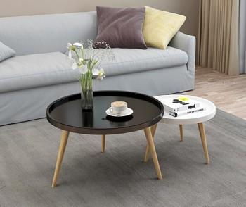 Modern Nordic Round Nesting Wooden Coffee Table Black For Living Room   Buy  Wooden Coffee Table,Nesting Coffee Table,Nordic Coffee Table Product On ...