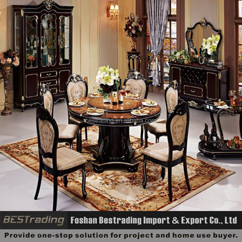 Wood Round Dining Table With Rotating Centre