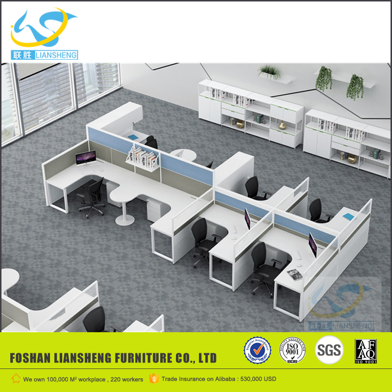 Customerized size MFC material blue T shape office work station