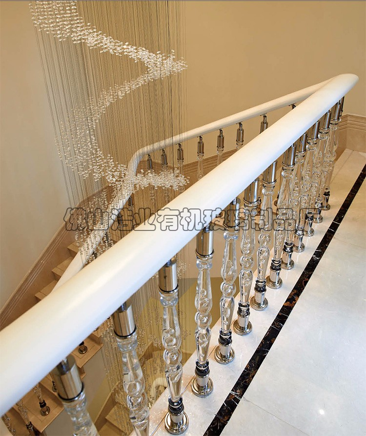 Crystal modern design stainless steel base injection molding acrylic stair railing for balcony