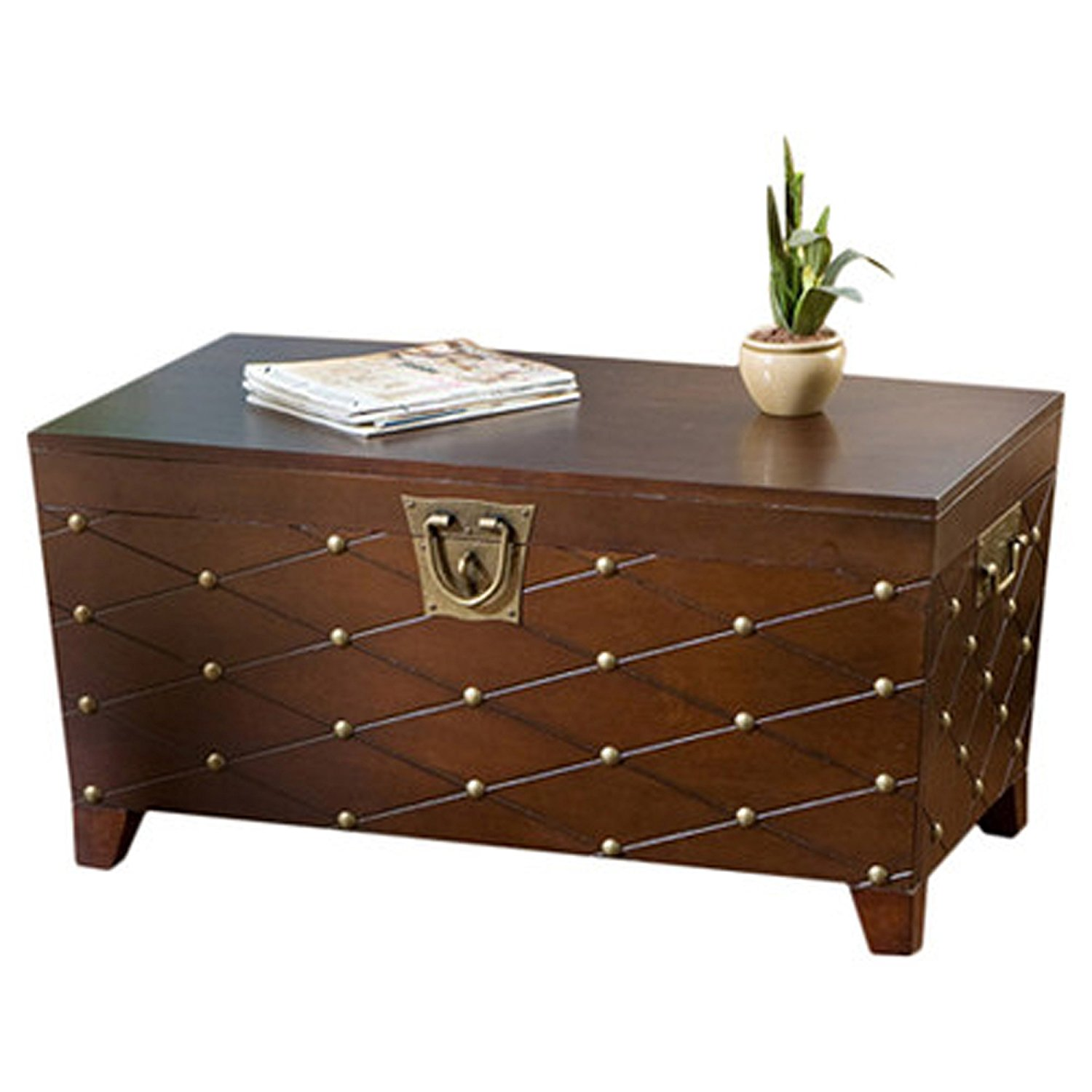Get Quotations · Boulstridge Nailhead Trunk Coffee Table Espresso Metal  Hardware Handles Contemporary Style Wildon Home Safety Hinges Extra