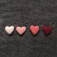 EU standard colourful safety soft 100% wool felt keychain for Valentine's Day gift