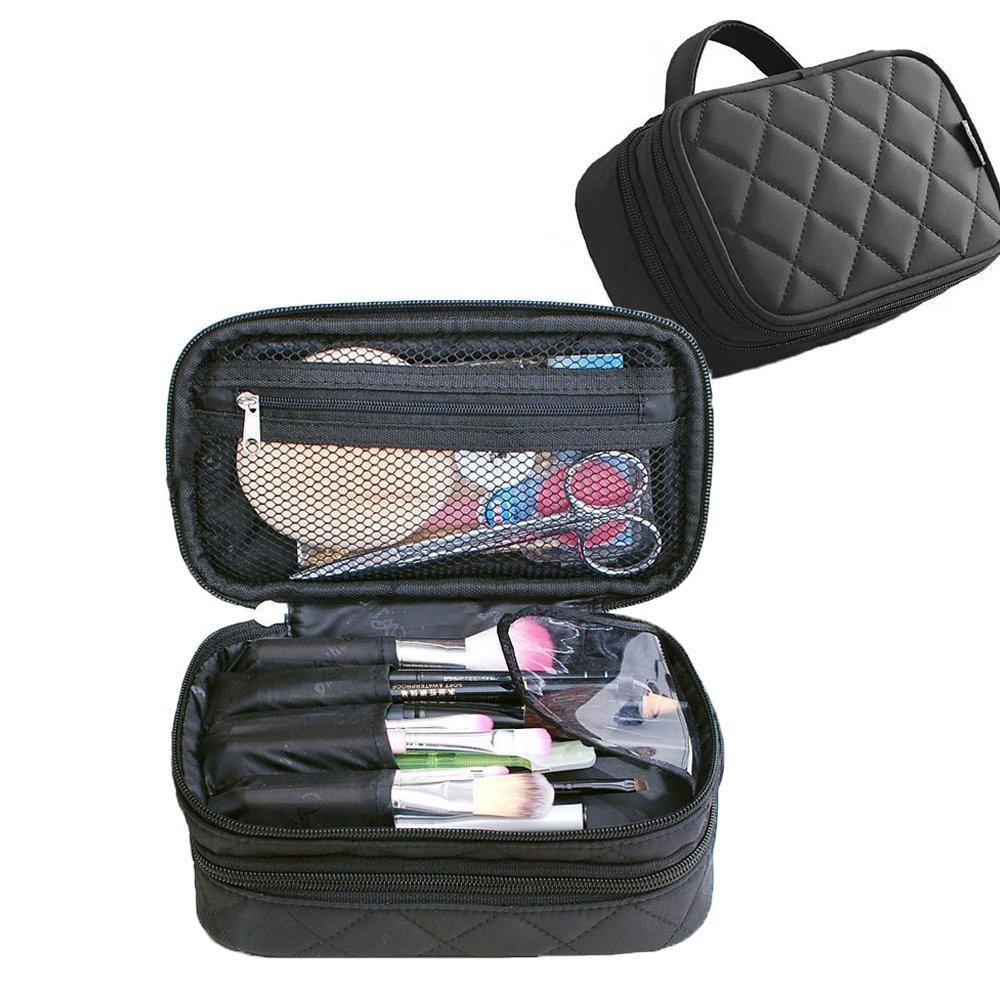 d4b36695ea Get Quotations · Lemoncy Professional Travel Makeup Bag Case 2 layer  Portable Makeup Brush Bag Cosmetic Organizer Makeup Pouch
