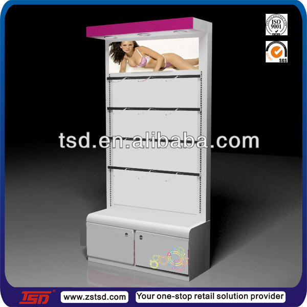 TSD-C314 Custom retail shop promotion cardboard underwear display stand,underwear display shelf,lingerie store display furniture