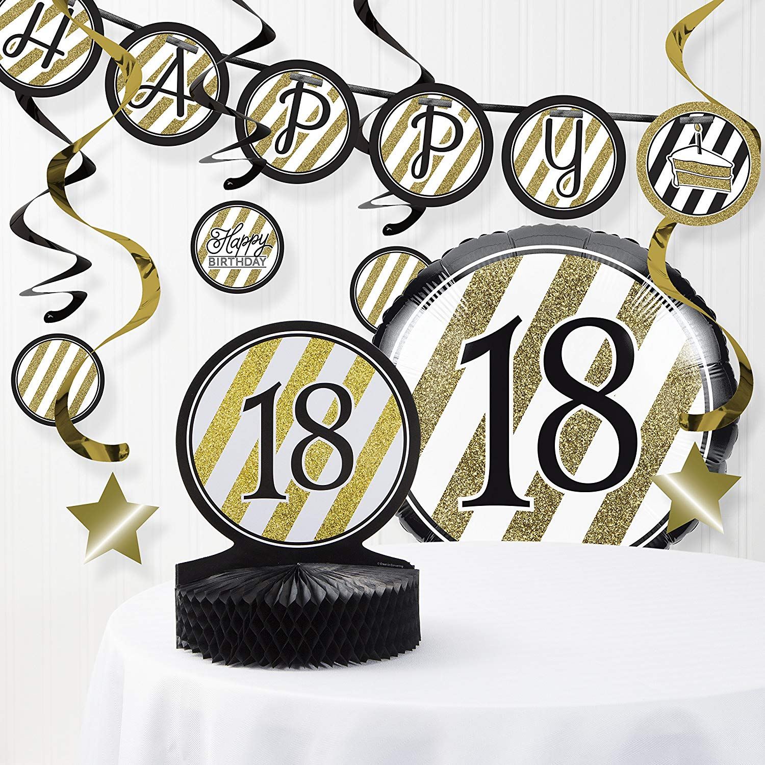 Get Quotations Black And Gold 18th Birthday Decorations Kit