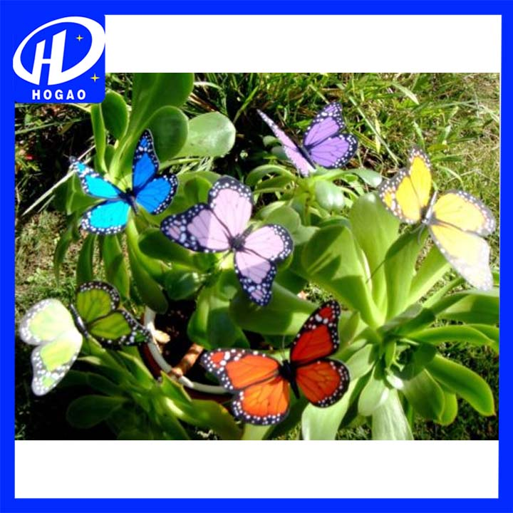 Garden Butterfly Stakes Decoration Casting Iron door Elegant Colorful Ornament Craft 12pcs